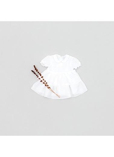 Pinolini Volanlı Keten Elbise Beyaz
